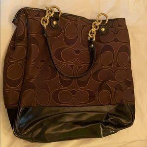 Coach purse pushlock Poppy Lurex tote